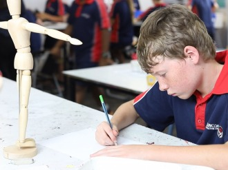 Art Class - Student doing life drawing at Suncoast Christian College - Primary