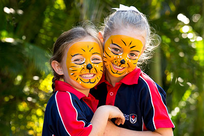 Prep students at Suncoast Christian College, Woombye with painted tiger faces
