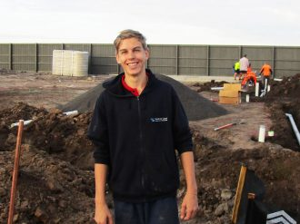 School-based Apprentice from Suncoast on a Sunshine Coast Building Site