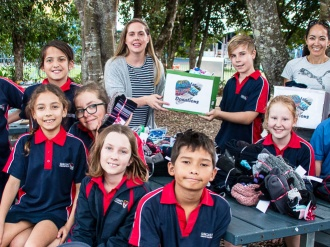 Suncoast Primary students packing winter woolies for the homeless